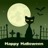 Notte di Halloween - gatto nero in un cimitero Fotografia Stock