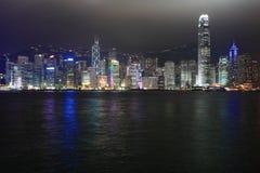 Notte di Hong Kong Fotografie Stock Libere da Diritti