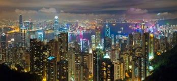 Notte di Hong Kong immagini stock libere da diritti