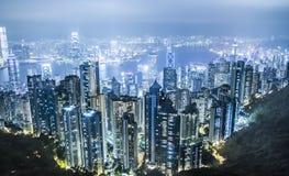 Notte di Hong Kong Fotografia Stock Libera da Diritti