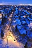 Notte di inverno di Edmonton della città Fotografie Stock