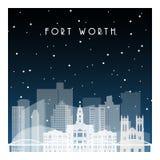 Notte di inverno a Fort Worth illustrazione vettoriale