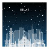 Notte di inverno a Milano illustrazione vettoriale