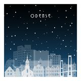 Notte di inverno a Odense royalty illustrazione gratis