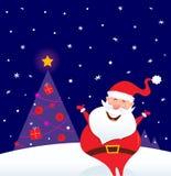 Notte di inverno: Santa felice con l'albero di Natale Immagine Stock