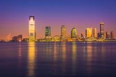 Notte di Jersey City, Hudson River Fotografia Stock Libera da Diritti