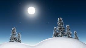Notte di luce della luna in foresta Fotografia Stock Libera da Diritti