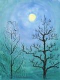 Notte di luce della luna di inverno Luna piena fra gli alberi royalty illustrazione gratis