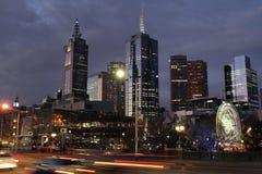 Notte di Melbourne Fotografie Stock