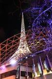 Notte di Melbourne del centro di arti immagine stock