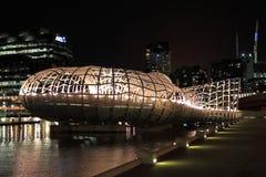 Notte di Melbourne del ponte di web Immagini Stock