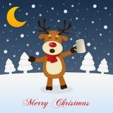 Notte di Natale con la renna divertente ubriaca Fotografie Stock Libere da Diritti