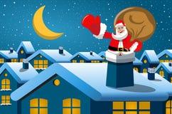 Notte di natale del camino di Santa Claus Fotografie Stock