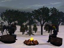 Notte di Natale del cowboy Fotografie Stock