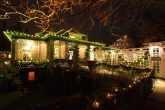 Notte di Natale nei giardini di Butchart, Victoria, BC, il Canada - Dece Fotografia Stock