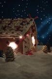 Notte di Natale nel villaggio del miele-cacke Immagine Stock