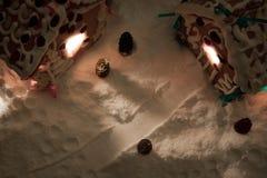 Notte di Natale nel villaggio del miele-cacke Immagini Stock