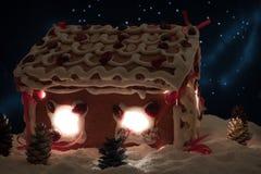 Notte di Natale nel villaggio del miele-cacke Immagini Stock Libere da Diritti