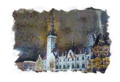 Notte di Natale in Olomouc immagine stock libera da diritti