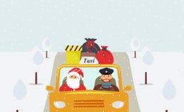Notte di Natale: Santa Claus che va in vacanza in un taxi giallo royalty illustrazione gratis