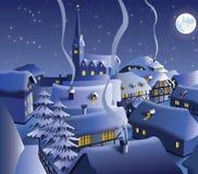 Notte di Natale in villaggio illustrazione di stock