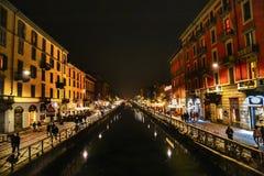 Notte di Navigli fotografie stock