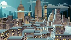 Notte di paesaggio urbano stock footage