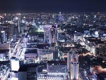 Notte di paesaggio urbano, vista di occhio di uccello di Bangkok Immagini Stock Libere da Diritti