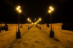 Notte di pietra del ponte Immagine Stock