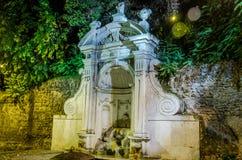 Notte di pietra di autunno di Prigione della fontana a Roma, l'Italia Fotografia Stock Libera da Diritti