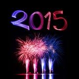 Notte di San Silvestro 2015 con i fuochi d'artificio Fotografie Stock Libere da Diritti