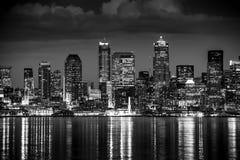 Notte di Seattle in bianco e nero Immagini Stock Libere da Diritti