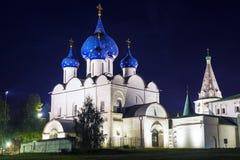 Notte di Suzdal' Anello di oro della Russia Fotografie Stock Libere da Diritti