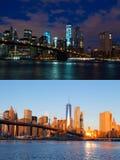 Notte e mattina sopra Manhattan Singolo punto di fucilazione Immagine Stock Libera da Diritti