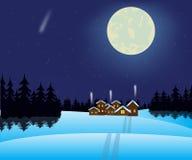 Notte e villaggio di inverno in legno illustrazione di stock