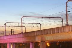 Notte, ferrovia leggera Fotografia Stock Libera da Diritti