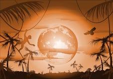 Notte in giungla e luna Fotografie Stock