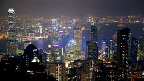 Notte Hong Kong e spettacolo di luci stock footage