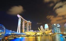 Notte Marina Bay Singapore 2 Fotografie Stock Libere da Diritti