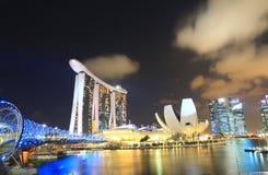Notte Marina Bay Singapore 1 Immagine Stock Libera da Diritti