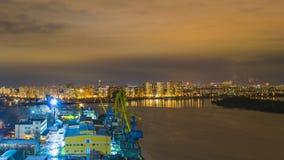 Notte Mosca. Porto del sud Fotografie Stock Libere da Diritti