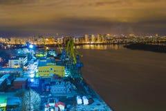 Notte Mosca. Porto del sud Fotografie Stock