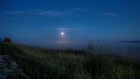 Notte nebbiosa di luce della luna Fotografia Stock