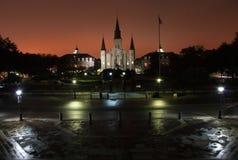 Notte nebbiosa sul quadrato di Jackson Fotografie Stock