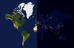Notte nell'est, giorno nell'ovest, illustrazione di vettore della mappa di mondo Fotografie Stock