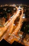 Notte nella città di Mosca Fotografia Stock