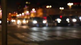 Notte nella città Sfuocato con confuso luci unfocused della città Bokeh di traffico Rumore della città stock footage