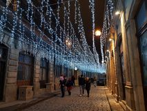 Notte oldciry della strada dell'iluminazione pubblica fotografie stock