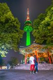 Notte più bella scenica sulla TORRE di Namsan N-SEOUL del supporto del sud fotografie stock libere da diritti