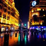 Notte piovosa a Schang-Hai Fotografia Stock Libera da Diritti